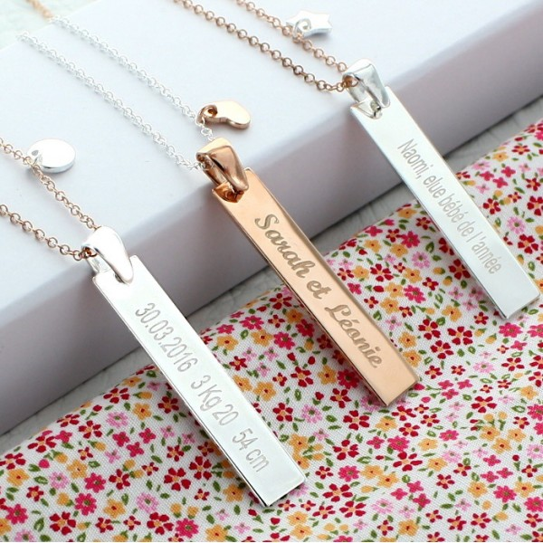 Collier personnalisé plaque rectangle